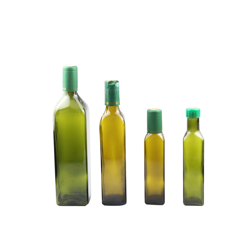 Dark green Rectangle Olive Oil Bottle