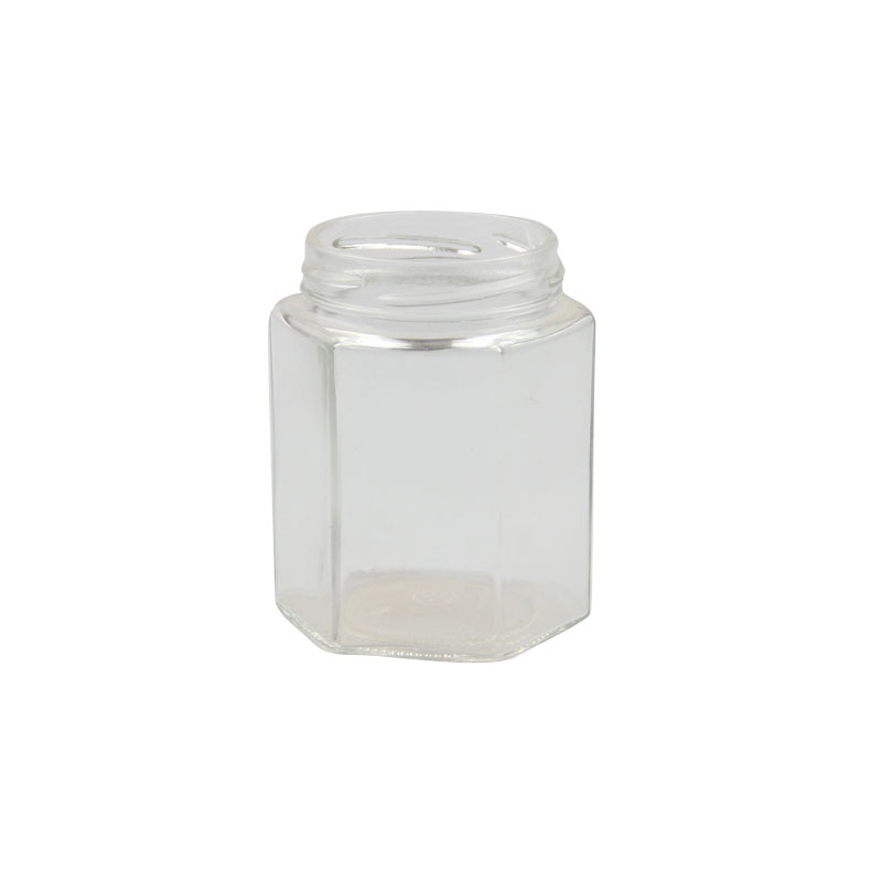 Haonai honey glass jar with black metal lid