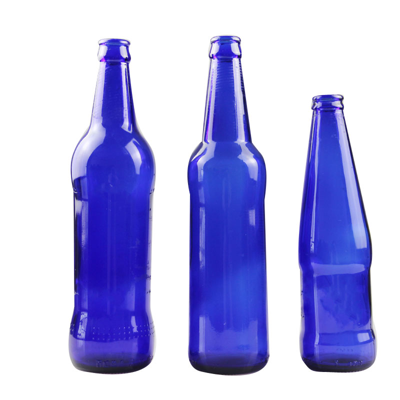 Customized Engraving Logo Blue Color 347ml Beer Glass Bottle