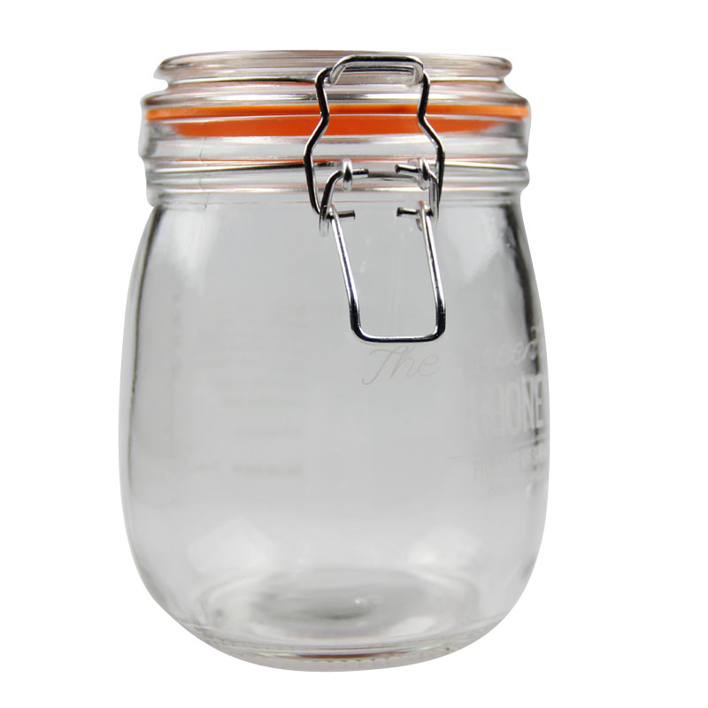 glass storage jar with swing top