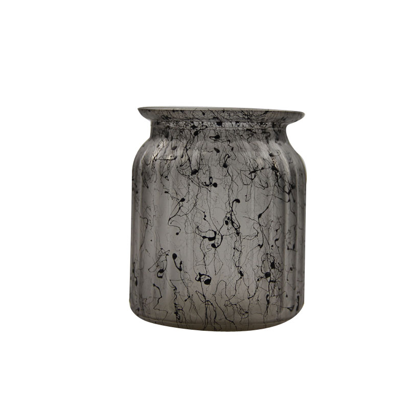 black glass storage jar