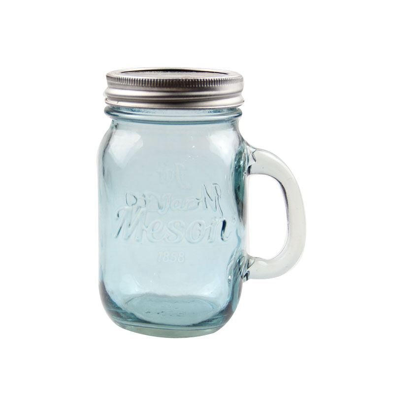 Blue mason jar with silver lids