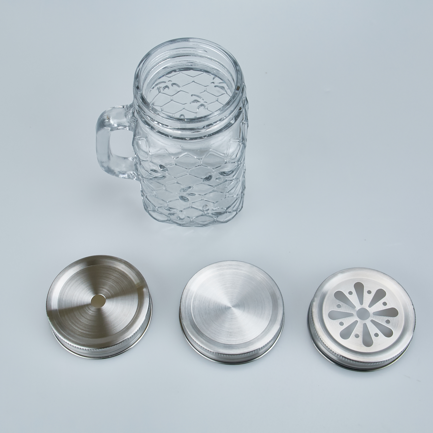 Glass Mason Jar with Stainless steel lid/cap and glass straw